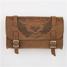 Check out the quality craftsmanship on this genuine leather brown motorcycle tool bag with embossed skull and wings design that is manufactured right here in the USA. #americanmade #brownleather #bikers