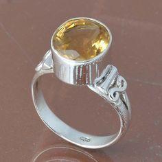 925 SOLID STERLING SILVER CITRINE CUT RING 3.66g DJR6741 #Handmade #Ring