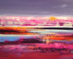 Buy Halfway Home - 80 x 100 cm abstract landscape oil painting in pink, purple, turquoise and orange, Oil painting by Beata Belanszky Demko on Artfinder. Discover thousands of other original paintings, prints, sculptures and photography from independent artists.