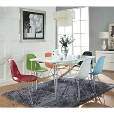 These molded plastic chairs are both flexible and comfortable, with an exciting variety of base options. Suitable for indoors or out, appropriate for the living and dining room, these versatile chairs are a great addition to any home décor statement. Mid Century Modern Dining, Furniture, Dining Room Decor, Side Chairs Dining, Home Decor, Dining Table, Midcentury Modern Dining Chairs, Modway Furniture, Patio Dining Chairs