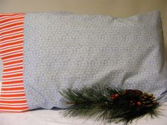 Snowflake and Stripes Pillowcase by LJsCustomCreations on Etsy, $9.00