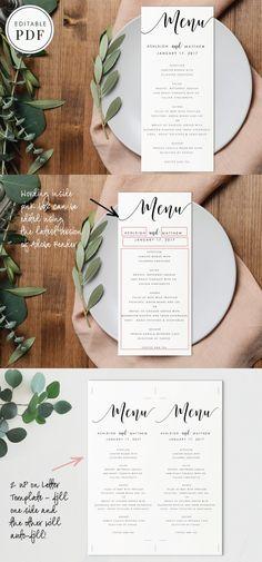 Editable PDF - Wedding Menu. Printables. $7.00 Menu Pdf, Wedding Menu Template, Wedding Fonts, Print Store, Printing Services, Design Elements, Bridal Shower, Printables, Lettering