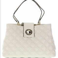 HPKate Spade Astor Court Elena Leather Handbag ❤️Gave to sister as a Mother's Day gift❤️  Kate Spade quilted leather purse with 14 karat gold plated hardware.                                            Color: Bone Open top with a flap featuring turn lock closure; Protective feet on bottom Dual chain and leather handles with a drop of approx. 10 inches Interior features 1 wall zip pocket, 2 slip pockets, and 1 central zip pocket dividing the main compartment Approx. dimensions:14.5 in L x 10…