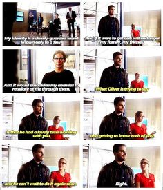 Oliver and Felicity #Olicity #TheFlashvsArrow ♥ Felicity being a good wifey and helping Oliver with his bad social skills <3