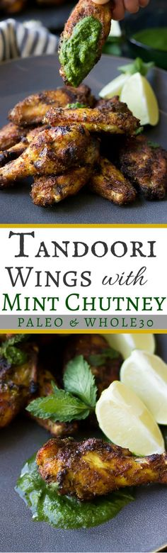 Paleo Tandoori Wings with Mint Chutney | Whole30 Compliant Recipe wickedspatula.com