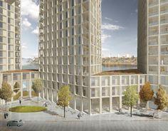 Tham & Videgård proponen viviendas en altura en madera para Estocolmo,Plaza en calle interior. Imagen © Tham & Videgård Arkitekter