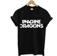 2016 nouvelles femmes imaginez dragons t-shirt Harajuku bande coton imprimé drôle hippie décontracté Shirt pour Lady blanc noir Top Tees