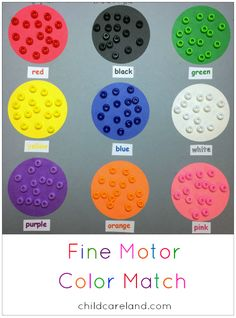 Fine Motor Color Match ... great for color identification ... matching ... fine motor skills.