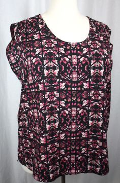 Pure Energy Womens Black Floral Sleeveless Round Neck Polyester Shell Top 2XL…