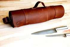 FOR CHEFS WITH STYLE  Medium Brown Chef knives rolled case Custom Chef Case for Knives made of a very strong and thick, high quality leather.