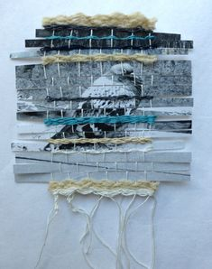 Weaving with photos and fibres. Paper Weaving, Tapestry Weaving, Loom Weaving, Collages, Collage Art, Weaving Projects, Art Projects, Make Do And Mend, Creative Textiles