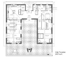 Bale Hacienda strawbale house plan. I'd move some stuff around, maybe make it smaller overall but I like the courtyard idea and this is a good start.
