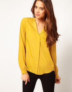 yellow blouse | Asos Collection Blouse with Drop Collar in Yellow (olive) - Lyst