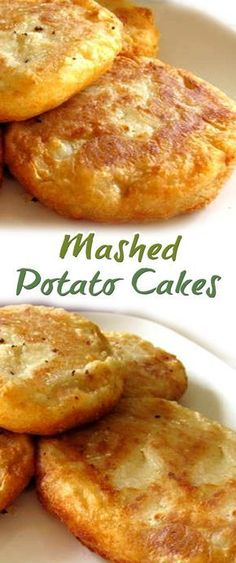 Mashed Potato Cakes Recipe ~ 2 cups mashed potatoes ¼ cup Parmesan cheese 1 egg (lightly beaten) 7 tablespoons all-purpose flour (divided) Oil for pan frying Salt and pepper Vegetable Dishes, Vegetable Recipes, Chicken Recipes, Vegetarian Potato Recipes, Veggie Recipes Sides, Mashed Potato Recipes, Potatoe Cakes Recipe, Mashed Potato Cakes Leftover, Recipes With Potatoes