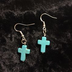 Turquoise Crosses with .925 Sterling silver hooks Lovingly handmade turquoise cross earrings with .925 Sterling silver hooks Jewelry Earrings