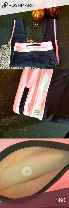 "Lululemon run inspire crop In perfect, like new condition, these Lululemon crop leggings are adorable! Pink and white stripes along the waistband with pink stripes down the sides, they are awesome. They measure 13"" across the waist laying flat, and the inseam is 19"". lululemon athletica Pants Leggings"
