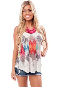 dd16f2d8aa6b6 White Tank with Colorful Geometric Print Boutique Tops