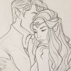 Rhysand and Feyre sketch ... I love them but feel like I barely draw them. #feyrearcheron #rhysand #feysand #acourtofthornsandroses…