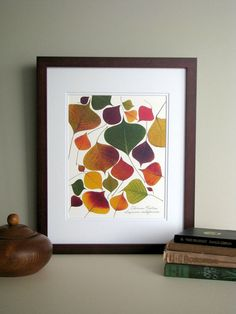 Pressed leaf print 11x14 double matted by FlatFlowerDesigns, $26.00  Love the…