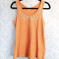 Last Chance! Embellished tank top, size medium. Taking to goodwill! Bright yellow tank top, embellished along the front, size medium. 100% Cotten. Tops Tank Tops