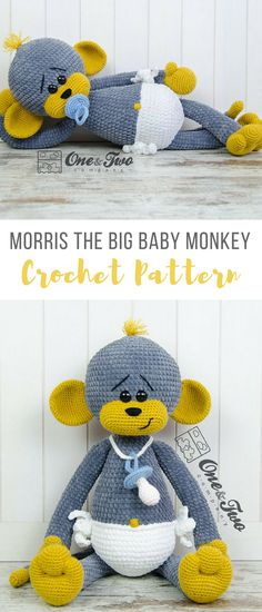 the cuteness of this crochet big baby monkey omg! It has a diaper on lol #crochetmonkey #crochetmonkeypattern #crochetamigurumi #amigurumicrochetpattern #affiliate