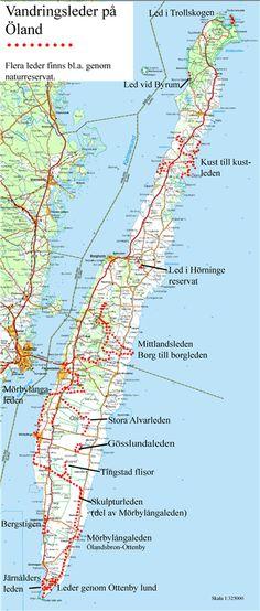 Hiking routes on Öland Island, Sweden | Vandringsleder på Öland från norr till söder