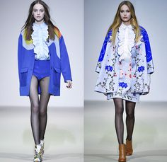 Vivetta 2015-2016 Fall Autumn Winter Womens Runway Catwalk Looks - Milano Moda Donna Collezione Milan Fashion Week Italy - Trompe L'oeil 3D Embroidery Hands Collar Waist Faces Groovy Waves Flowers Florals Fauna Leaves Foliage Print Graphic Pattern Motif 1960s Sixties Dress Blouse Culottes Gauchos Wide Leg Palazzo Pants Outerwear Coat Jacket Jacquard Ruffles Vest Waistcoat Sheer Chiffon