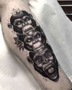 Three Wise Monkeys Tattoo by Ypso Evil Tattoos, Wolf Tattoos, Skull Tattoos, Leg Tattoos, Body Art Tattoos, Tribal Tattoos, Sleeve Tattoos, Moños Tattoo, Sick Tattoo