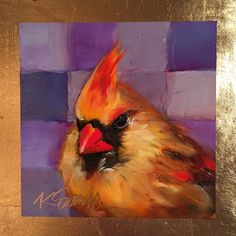 Female cardinal is an original daily oil painting of a sweet bird by Lancaster, Pa, artist Kim Smith on raised panel #cardinal #birdart #birdpainting #birdlover #smallart