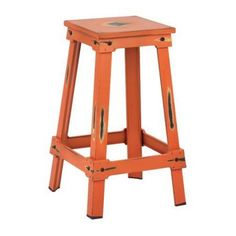 OSP Designs Castle Metal Barstool, Orange