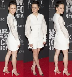 """Red Carpet Newbie Daisy Ridley Stuns in a Modern White David Koma Dress and Gianvito Rossi """"Anais"""" Pumps at Star Wars Force 4 Fashion"""