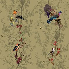 Scottish textile and wallpaper design studio Timorous Beasties Birds and Bees fabric, Roskin collection (Brave) Bee Fabric, Fabric Birds, Bird Wallpaper, Fabric Wallpaper, Beautiful Wallpaper, Chinoiserie, Foto Transfer, Timorous Beasties, May Designs