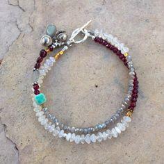 Moonstone Labradorite Garnet Bracelet by EastVillageJewelry, $45.00 Handmade artisan jewelry ~ Free shipping www.eastvillagejewelry.etsy.com