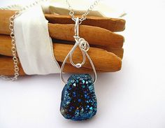 Blue Druzy Necklace, Wire Wrapped, Agate Necklace, Sterling Silver, Stone Pendant, Colorful Rock Jewelry