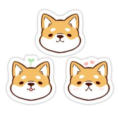 This sticker set consists of three, cute, original Shibas with different expressions. / Decorate personal belongings or even give to a friend as a gift! ☆彡 • Also buy this artwork on stickers.
