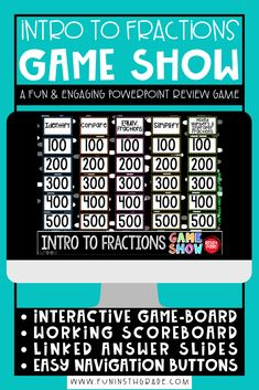 This fun and engaging game show activity is perfect for introducing or reviewing fraction concepts before being a whole unit! This game show can be used with PowerPoint, Keynote or Google Slides. Works on identifying fractions, comparing fractions, equivalent fractions, simplying fractions Rounding Games, Fraction Games, Context Clues Games, Vocabulary Games, Math Games, Fun Math, Math Class, Nonfiction Text Features, Fact And Opinion