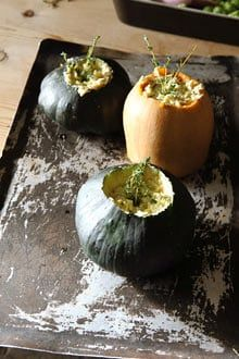 Hugh Fearnley-Whittingstall's squash stuffed with leeks
