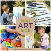 Easy outdoor art ideas for kids - large scale, messy, nature inspired art a Art Activities For Toddlers, Playdough Activities, Science Projects For Kids, Camping Activities, Science Experiments Kids, Craft Activities, Activity Ideas, Classroom Activities, Classroom Ideas