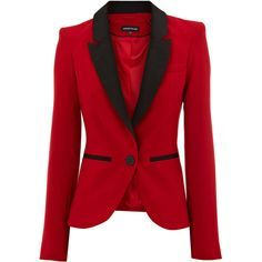 Warehouse Tux Jacket (80 BAM) ❤ liked on Polyvore featuring outerwear, jackets, blazers, coats, tops, women, tux jacket, red tuxedo blazer, red jacket and red dinner jacket