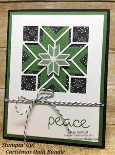 Gorgeous card with the Stampin\' Up! Christmas Quilt Bundle. How To Video Included. Created by Kay Kalthoff with Stamping to Share. #stampingtoshare