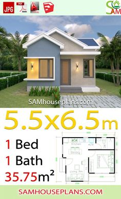 House design Plans with One Bedroom Gable roof – Sam House Plans - Haus Ideen One Bedroom House Plans, Small House Floor Plans, Cottage House Plans, Modern House Plans, Small House Architecture, Architecture Design, Small Farmhouse Plans, Southern Living House Plans, House Roof