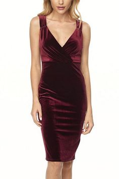 Burgundy Velvet dress with deep V wrap style neckline. Classy dress, which make is perfect for your work holiday party and still fashionable for a night out. Rich burgundy color adds to the drama. Accessorize or keep it minimal- Diamond studs or pearl earrings would be perfect!   Velvet Cocktail Dress by Bonded. Clothing - Dresses - Cocktail Philadelphia, Pennsylvania