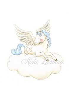 Nursery Art PEGASUS Art Print for Baby, Nursery Illustration. Lovely pegaus to decorate a beautiful nursery room! Its a reproduction of my original illustration printed with detailed on special watercolor paper 300 g. honed natural white, acid-free and 100% cellulose, gives appearance of original painting Watermark will not appear on purchased print. VERTICAL printing. All print is hand signed by me. Prints comes wrapped in tissue paper for extra protection and shipped in a resistant card...
