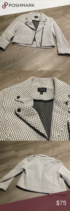 Top shop Moto jacket worn once Super cute white & grey Moto jacket. Cropped. Worn once Topshop Jackets & Coats