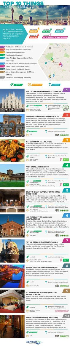 Top 10 Things to Experience in Milan #Infographic #Italy #Travel