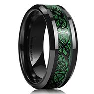 - Unisex or Men's Tungsten Wedding Band. Black and Green Mens Celtic Wedding Band. Mens Celtic Wedding Bands, Tungsten Wedding Bands, Wedding Ring Bands, Wedding Jewelry, Damascus Steel, Ring Designs, Dragon Wedding, Thing 1, Tungsten Carbide Rings