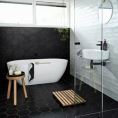 A monochrome bathroom is not hard to attain. It may give the room a luxury bathroom texture. Black and white bathroom does not have to be traditional. A black and white bathroom is a contemporary and classic style option, however… Continue Reading → Bathroom Tile Designs, Modern Bathroom Design, Bathroom Interior Design, Bathtub Designs, Loft Interior, Bath Tiles, Bath Design, Design Design, Creative Design