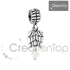 Charm for any Pandora bracelet, angel wing dangle bead with pearl by Creationtop on Etsy