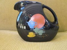 Fiesta Black Large Disk Pitcher with Fiesta Decals RARE 1996