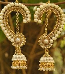 Beautiful long earrings with jhumkiii studded with pearls